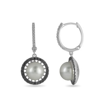 14K WG Black and White Dia Earring w/ Center Pearl