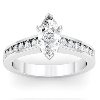 Channel Set Round Cut Diamond Engagement Ring