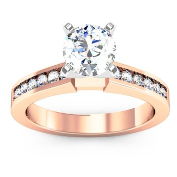 Channel Set Round Cut Diamond Engagement Ring