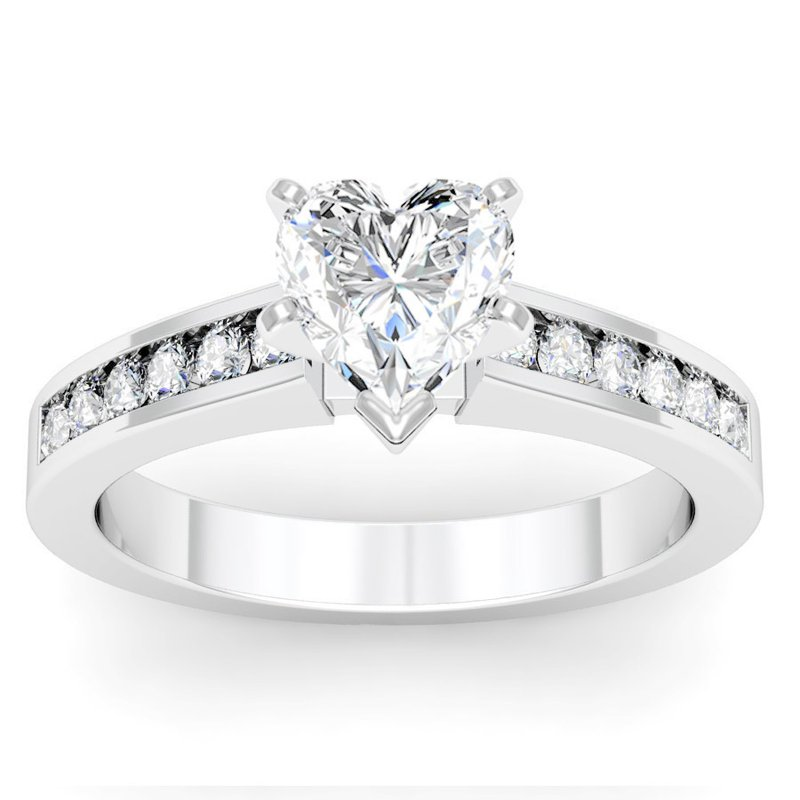 California Coast Designs Channel Set Round Cut Diamond Engagement Ring