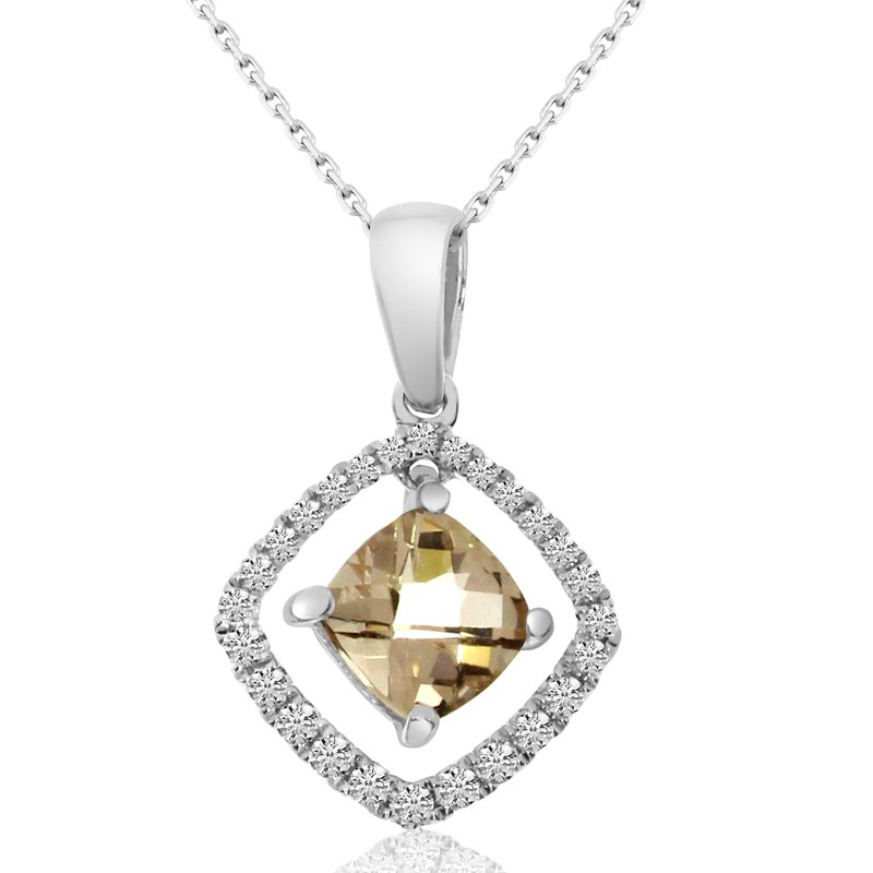 Color Merchants 14k White Gold Moving Morganite and Diamond Pendant