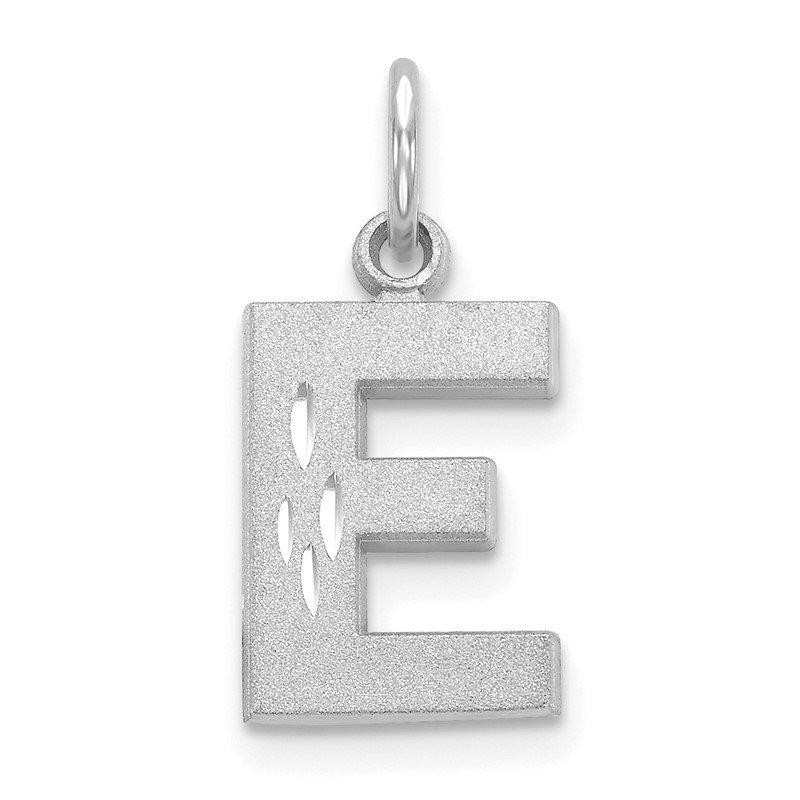 Quality Gold 14KW Satin Diamond-cut Letter E Initial Charm