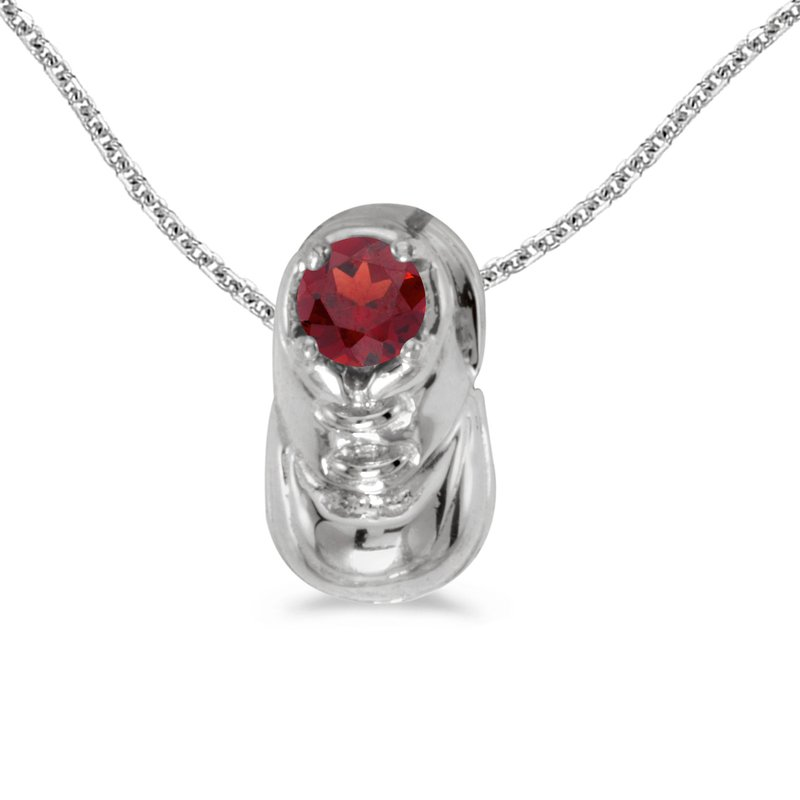 Color Merchants 14k White Gold Round Garnet Baby Bootie Pendant