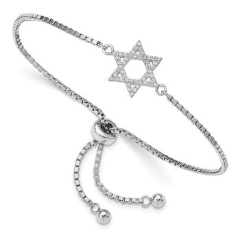 Sterling Silver Rhodium-plated CZ Star of David Adjustable Bracelet