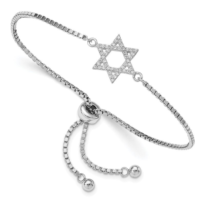 Quality Gold Sterling Silver Rhodium-plated CZ Star of David Adjustable Bracelet