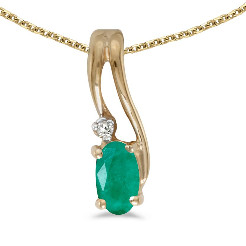Color Merchants 14k Yellow Gold Oval Emerald And Diamond Wave Pendant
