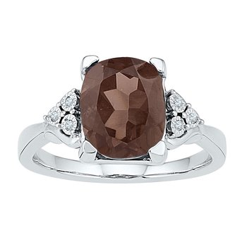 10kt White Gold Womens Oval Lab-Created Smoky Quartz Solitaire Ring .03 Cttw