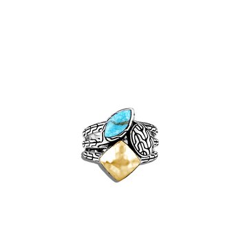 Classic Chain Ring in Silver and Hammered 18K Gold, Gemstone