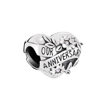 Our Anniversary Heart Charm - Crystal Moonlight Swarovski Crystal