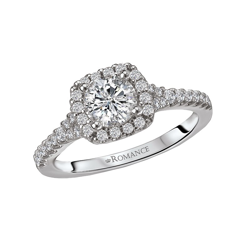 Romance Two-Tone Halo Semi-Mount Ring