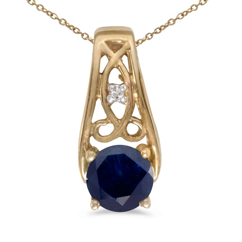 Color Merchants 10k Yellow Gold Round Sapphire And Diamond Pendant