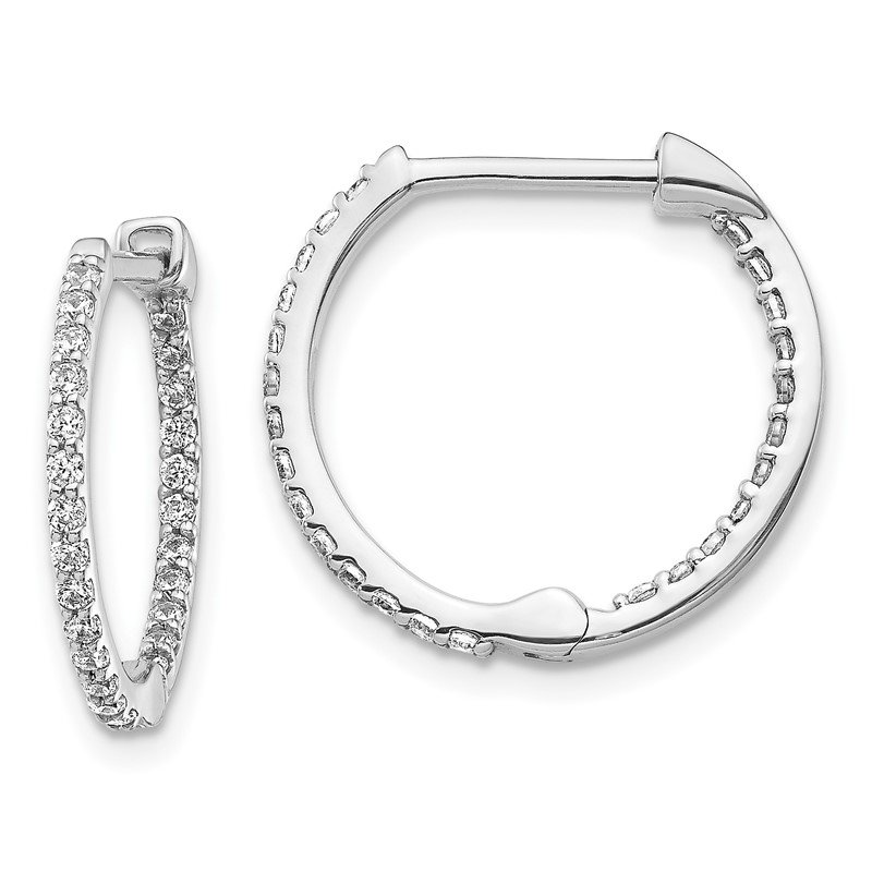 Quality Gold 14k White Gold Diamond In/Out Hinged Hoop Earrings
