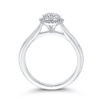 Promezza 14K White Gold Round Diamond Hexagon Shape Halo Engagement Ring
