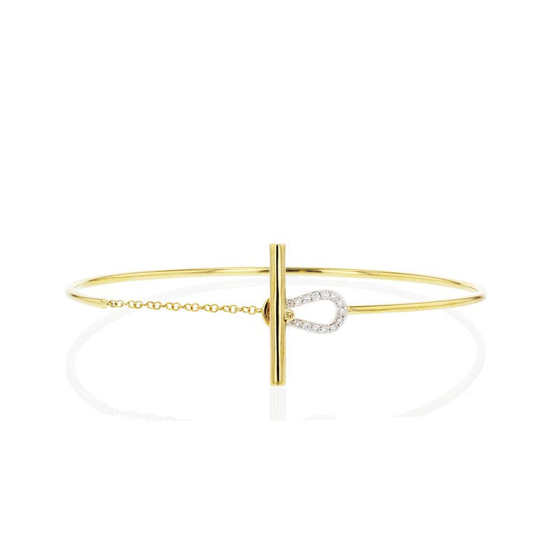Phillips House Yellow gold diamond keyhole wire bracelet