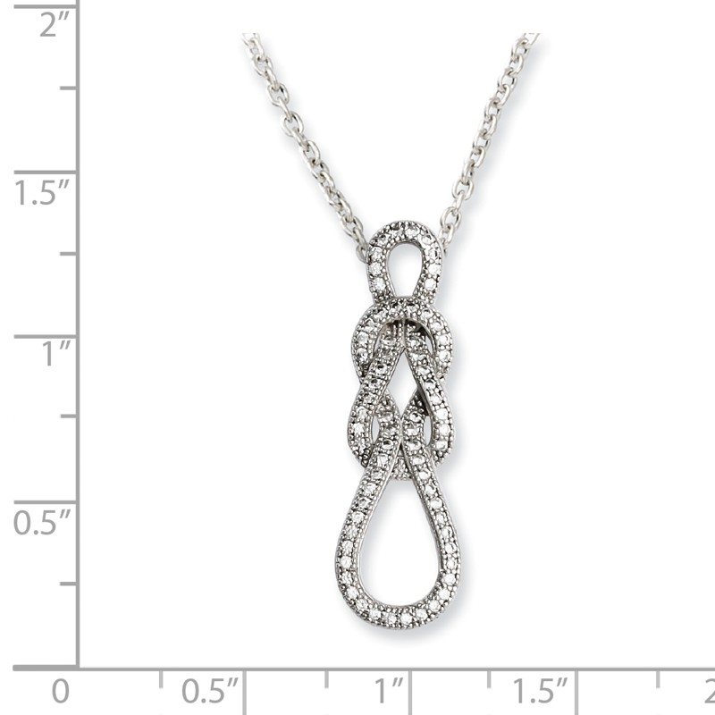 Brilliant Embers Sterling Silver Rhodium-plated Black Spinel /& CZ Pendant Necklace 18 2 Extender