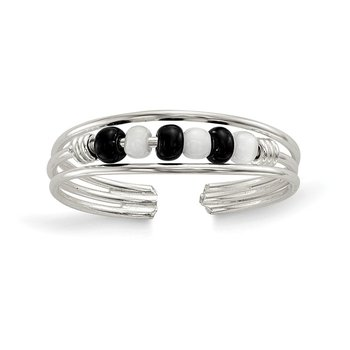 Sterling Silver Black & White Beaded Toe Ring