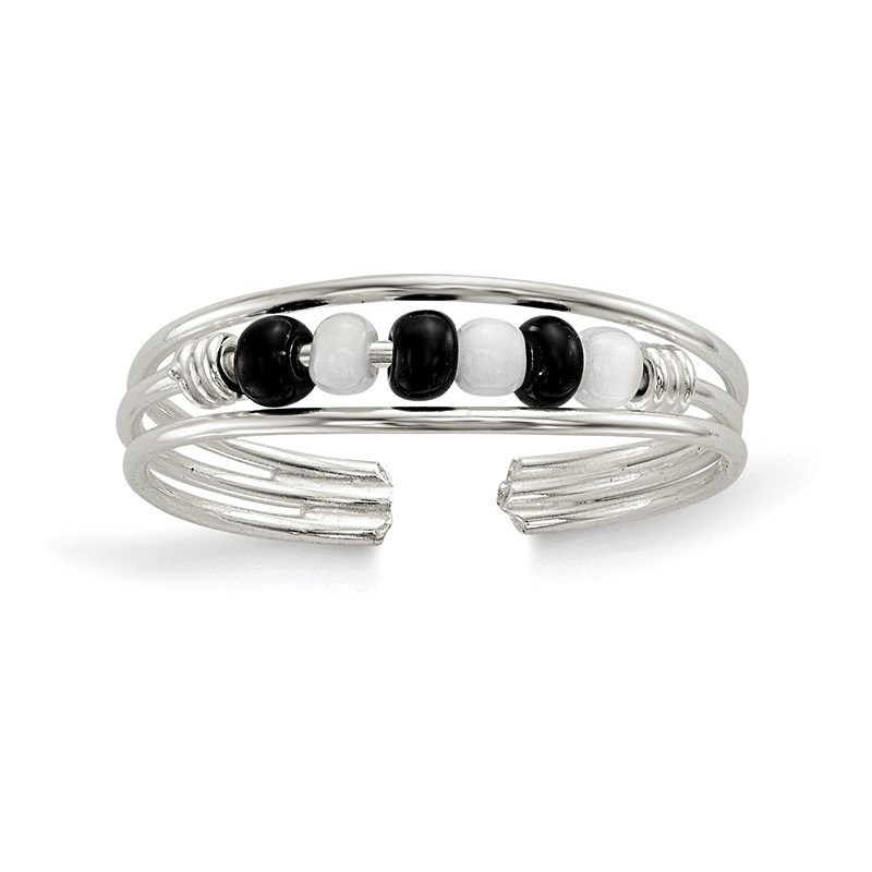 Quality Gold Sterling Silver Black & White Beaded Toe Ring