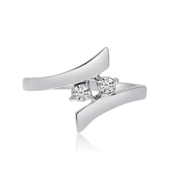 14K White Gold Two-Stone Bypass Diamond Ring