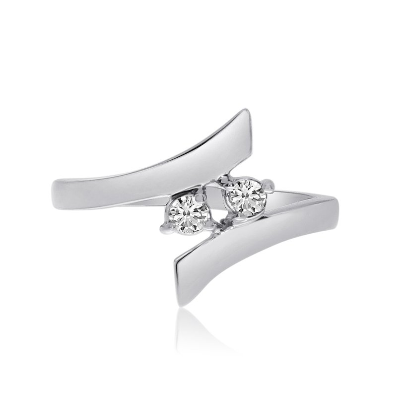 Color Merchants 14K White Gold Two-Stone Bypass Diamond Ring