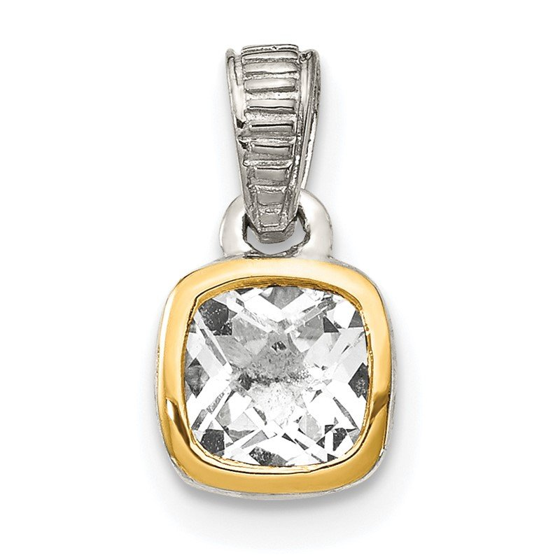 Quality Gold Sterling Silver w/ 14K Accent White Topaz Pendant