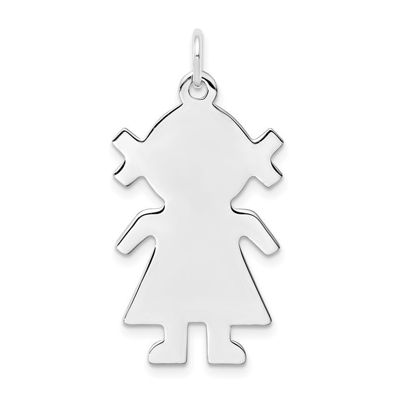 Quality Gold Sterling Silver Rhod-plated Eng. Girl Polished Front/Satin Back Disc Charm