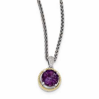 Sterling Silver w/14ky Amethyst Diamond Necklace