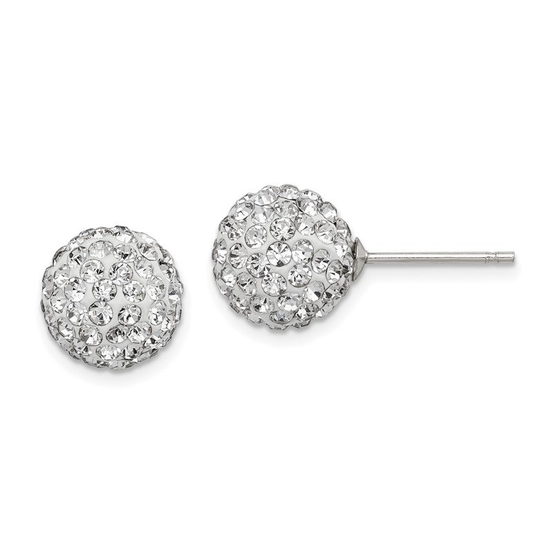 Lester Martin Online Collection Sterling Silver Rhodium-plated 10mm White Czech Crystal Post Earrings