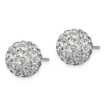 Sterling Silver Rhodium-plated 10mm White Czech Crystal Post Earrings