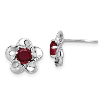 Sterling Silver Rhodium-plated Floral Created Ruby Post Earrings
