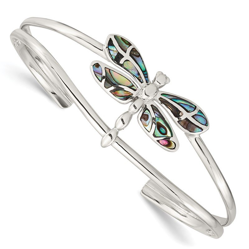 Quality Gold Sterling Silver Abalone Dragonfly Bangle Bracelet