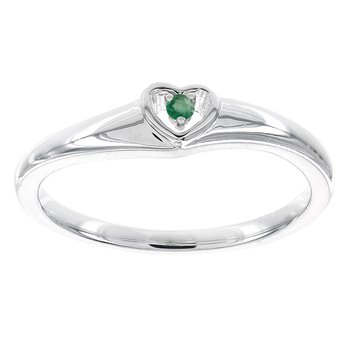 10k White Gold Emerald Heart Promise Ring