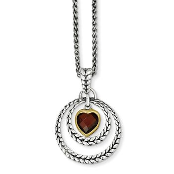 Sterling Silver w/Gold-tone Flash Gold-plated Garnet Heart Necklace