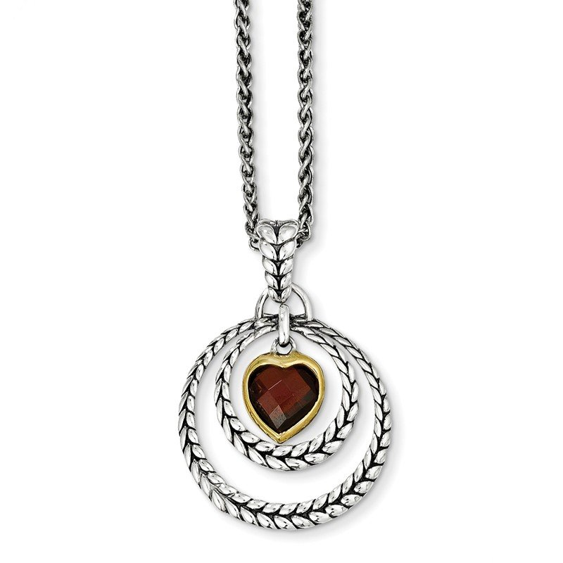 Shey Couture Sterling Silver w/Gold-tone Flash Gold-plated Garnet Heart Necklace