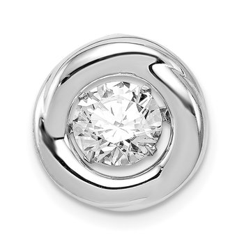 Sterling Silver Platinum-plated Polished Vibrant CZ Circle Pendant