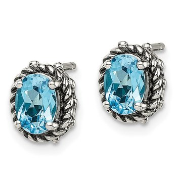 Sterling Silver Blue Topaz Antiqued Earrings