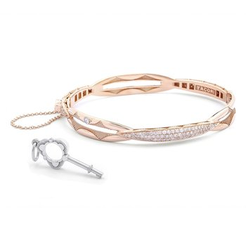 Promise Bracelet Oval, Rose Gold with Pavé Diamonds