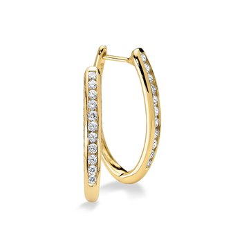 Channel set Diamond Oval Hoops in 14k Yellow Gold (1/2 ct. tw.) GH/SI1-SI2