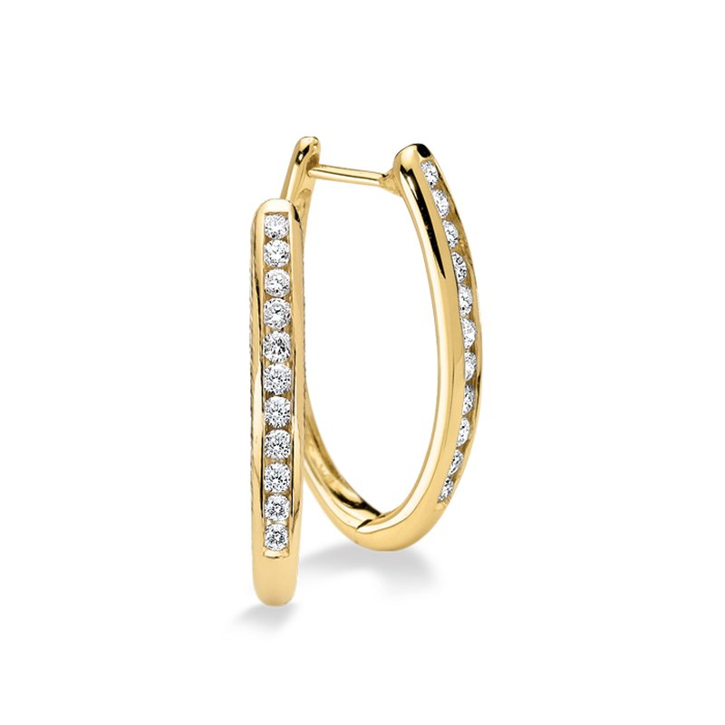 SDC Creations Channel set Diamond Oval Hoops in 14k Yellow Gold (1/2 ct. tw.) GH/SI1-SI2