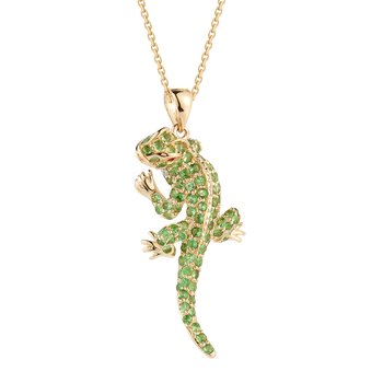 14K Green Garnet  Lizard with 15 Diamonds 0.09CT , and 108 Tsavorites 1.65CT