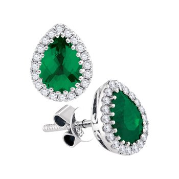 14kt White Gold Womens Pear Natural Emerald Solitaire Diamond Frame Screwback Earrings 1-1/5 Cttw