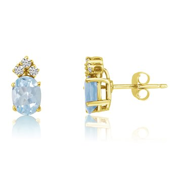 14k Yellow Gold Oval Aquamarine Earrings with Diamonds