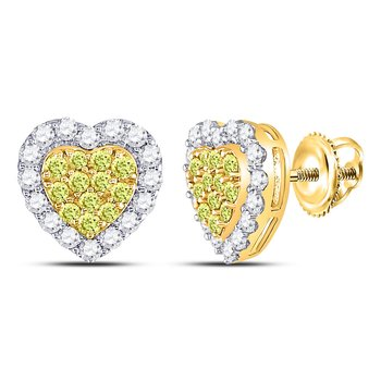 14kt Yellow Gold Womens Round Yellow Diamond Heart Cluster Earrings 1-1/3 Cttw