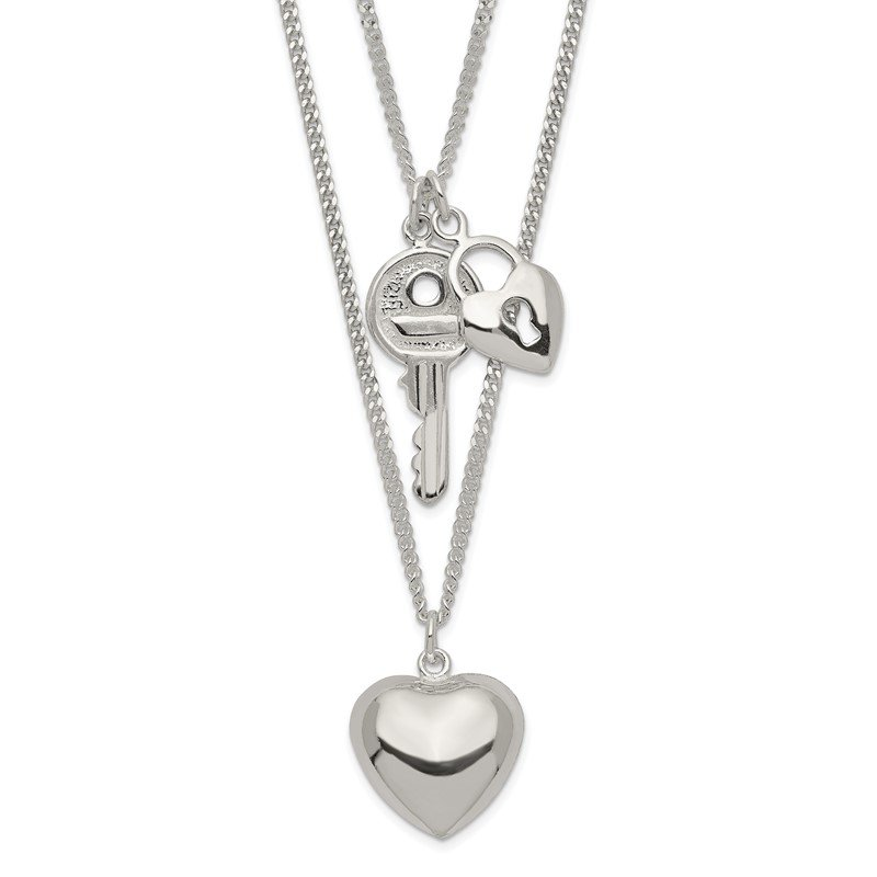 Quality Gold Sterling Silver 2-Strand Heart and Key Necklace