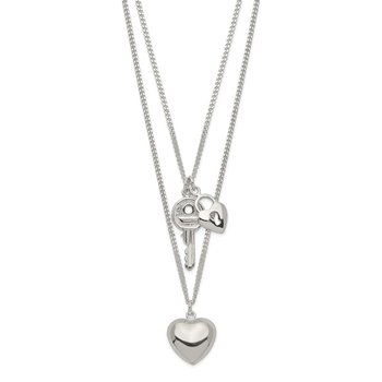 Sterling Silver 2-Strand Heart and Key Necklace