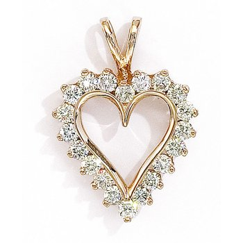 14K Yellow Gold and Diamond Heart Pendant (1.50 carat)