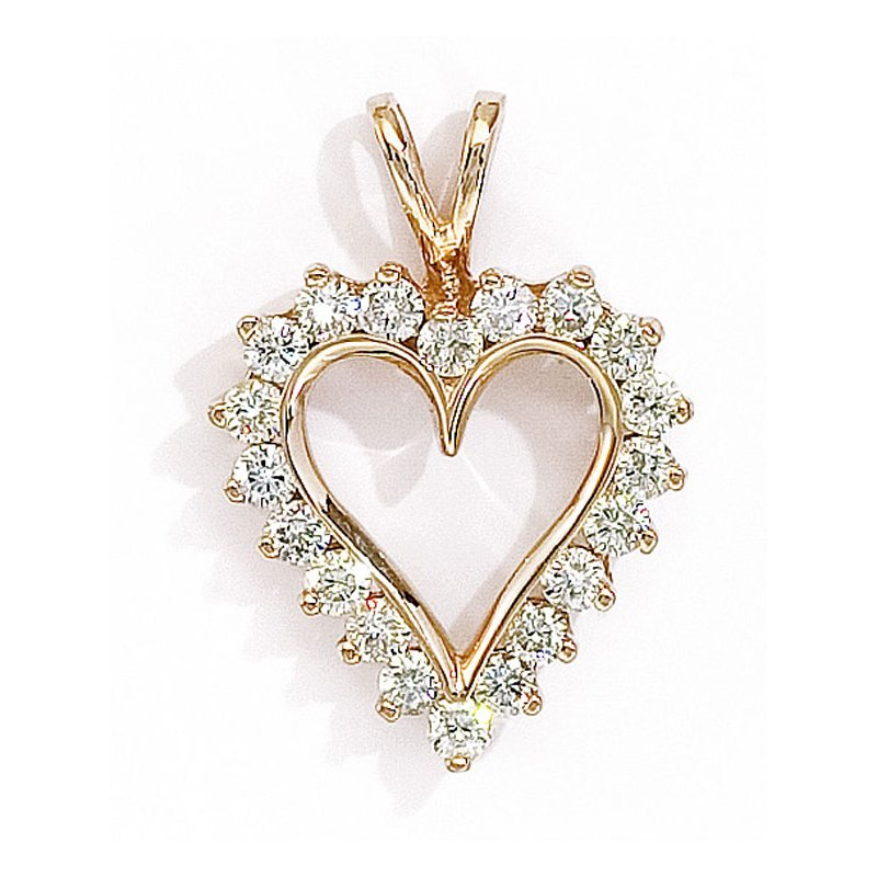 Color Merchants 14K Yellow Gold and Diamond Heart Pendant (1.50 carat)