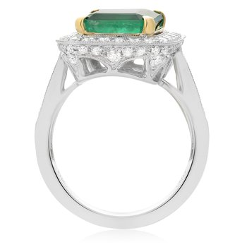 Milgrain Emerald & Diamond Halo Ring