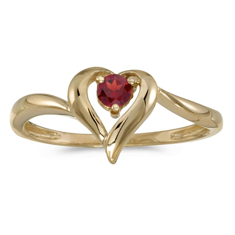 Color Merchants 14k Yellow Gold Round Garnet Heart Ring