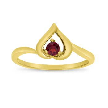 14k Yellow Gold Round Garnet Heart Ring