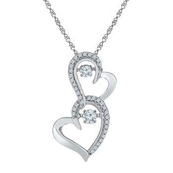 10kt White Gold Womens Round Diamond Moving Twinkle Solitaire Double Heart Pendant 1/4 Cttw